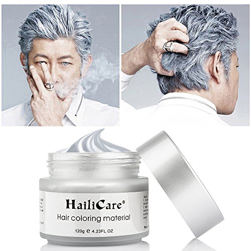 HailiCare Silver Grey Hair Wax 4.23 oz, Professional Silver Ash Hair Wax, Natural Matte Hairstyle Hair Dye Wax for Party, Cosplay (Upgrade Glass (Temporary Hair Dyes)