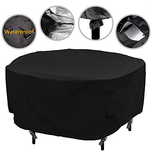 Patio Cover Attached (Patio Round Table Chair Set Cover Outdoor Furniture Cover Water Resistant Durable Fabric, 108