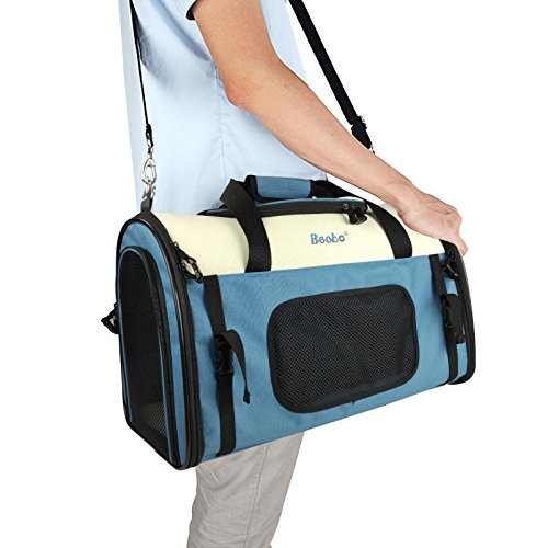 Becko Expandable Foldable Pet Carrier Travel Handbag with Padding and Extension (Blue) by Becko (Image #8)