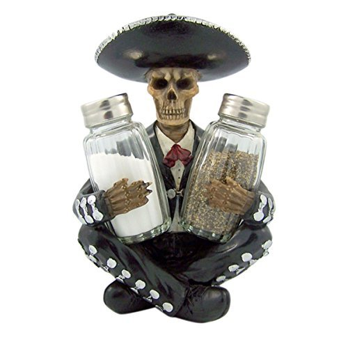 Mariachi Skeleton Glass Salt and Pepper Shaker Figurine Set, 7 Inch