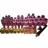 Warrior 50PK PCS Full TIG Welding Accessories Kit Alumina Nozzle Gas Lens Collets Bodies Gasket Cup Back Caps Fit PTA DB SR17 SR18 SR26 WP17 18 26 Torches