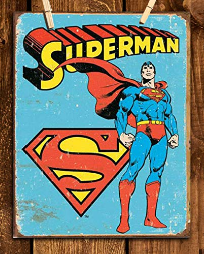 """Superman Vintage Sign Print- 8 x 10""""- Wall Art Prints-Ready To Frame- Distressed Retro Replica Print. Perfect Dcor for Home- Bar- Dorm- Bedroom- Man Cave. Must Have For All Super Fans & Collectors."""