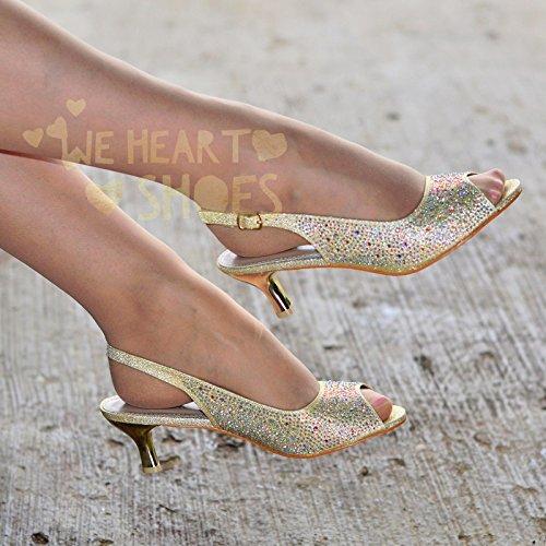 Krasceva - Zapatos con correa de tobillo mujer dorado