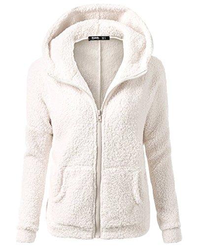 Con Felpa Outwear Cappuccio Cappotto Cerniera Kasen Bianco Maglione Caldo Hooded Donna 65qnnd