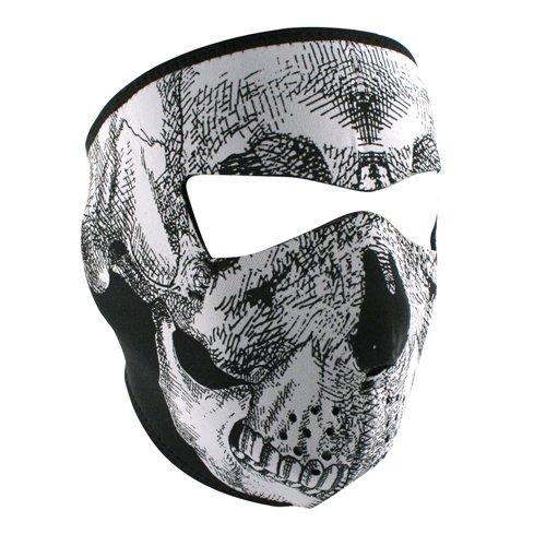 Zanheadgear Neoprene Full Face Mask, Oversized, Black and White Skull Face