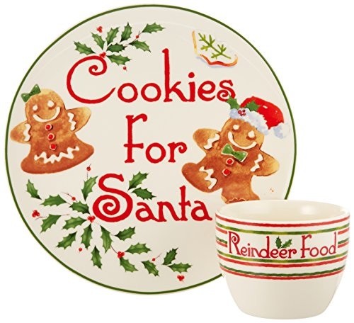 Lenox 2 Piece Countdown to Christmas for Santa Cookie Plate and Bowl Set, Ivory ()