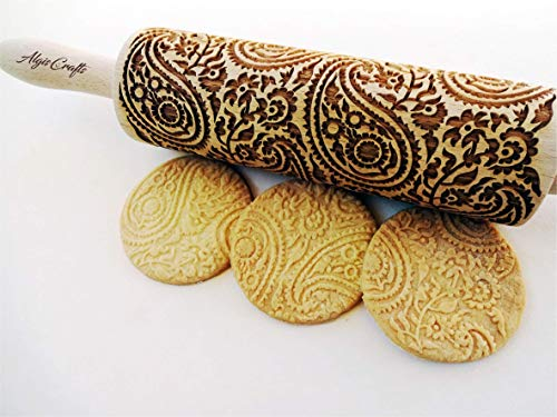 Wizzard Embossing pattern Engraved rolling pin with Wizzard for embossed cookies Baking Gift Wizzard Rolling Pin