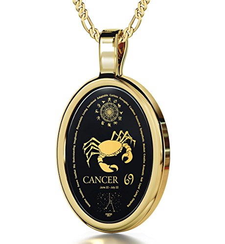 Cancer Necklace Zodiac Pendant for Birthdays 22nd June to 22nd July with Star Sign Constellation and Personality Characteristics Inscribed in 24k Gold on Oval Black Onyx Gemstone, 18 Chain