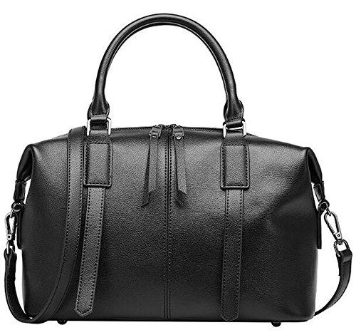 primavera y el verano, los bolsos de cuero color sólido hombro bolsa de Boston de sección transversal Messenger señoras bolso Negro
