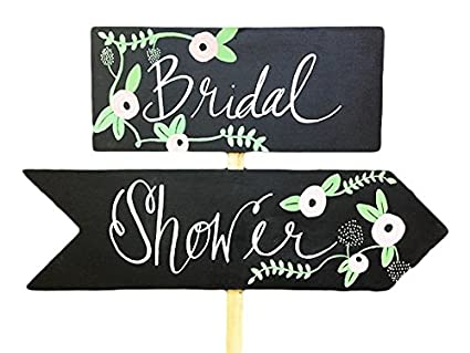 Amazon com: Thicket and Thatch Wooden Bridal Shower Sign (Pointing