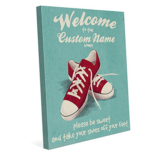 Please Be Sweet And Take Your Shoes Off Your Feet Red Sneakers on Green Wall Art Print