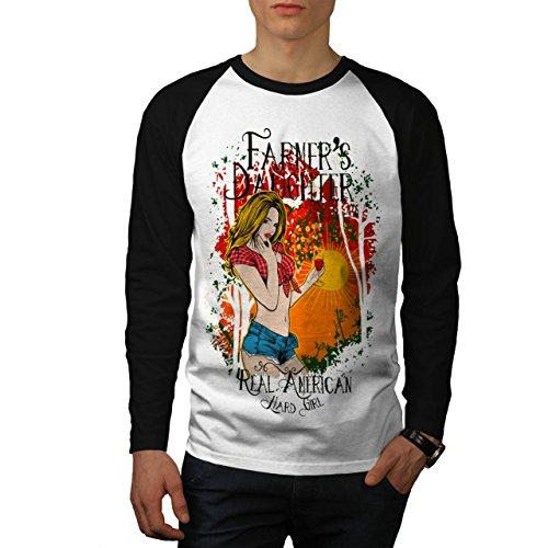 Farmer Daughter Cute Hard Girl Men NEW M Baseball LS T-shirt | Wellcoda (Daisy Duke Fancy Dress)