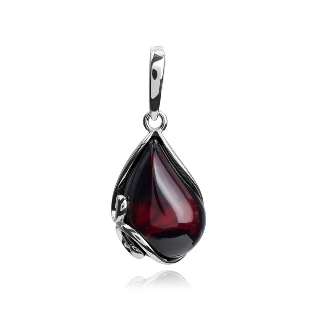 Ian and Valeri Co. Cherry Amber Sterling Silver Tear Drop Pendant