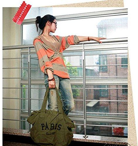 Handbag Shoulder Letter Messenger PARIS Tote Women's Everyday Bag Purse Shopping Hobo Green Casual Canvas nACYBxaUwq