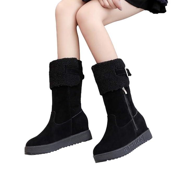 MYMYG Cuñas para Mujer Botas largas para Mujer Botas de Nieve con Cremallera Borla Botines Zapatos Casuales Black Friday Boots Botines Zapatillas ...