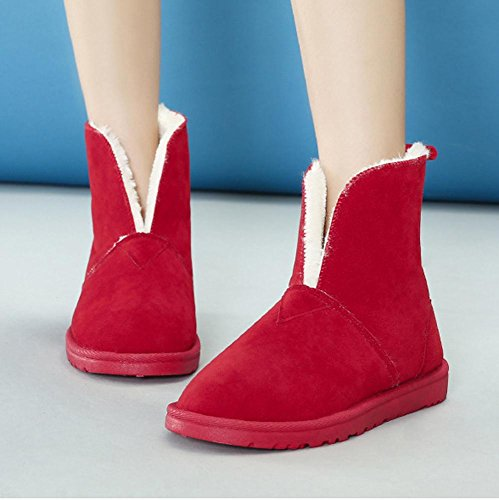 Women Boots Short Suede Cotton Flat Heel Thicker Plush Warm Casual Solid Color Shoes RED-38 oDrDAErRo