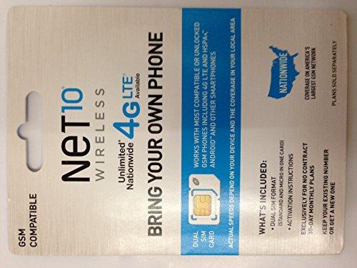 4G/LTE Nano Sim Card Net 10 (H2o Wireless Nano Sim Card 4g Lte)