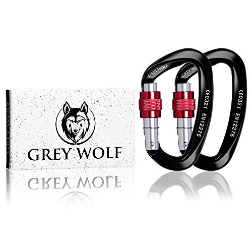 - GREY WOLF Heavy Duty Rock Climbing Carabiner - Small Locking Carabiners for Campers & Rock Climbers - Strong Screwgate D Ring Carabiner Clip for Hiking, Camping & Trekking - Lightweight & Compact