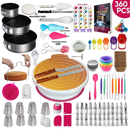 360 Pcs Cake Decorating Supplies Kit with Baking supplies- Spring-form Pan Set -Cake Turntable stand-55 Numbered Piping Tips & Bags 7 Russian tips Icing Spatulas Fondant tools Measuring cups & Spoons