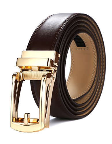 Tonywell Mens Leather Ratchet Belts with New Style Open Buckle Perfect Fit Dress Belt 30mm Wide (One Size:32