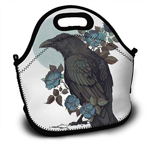 Dejup Lunch Bag Crow On The Forks Tote Reusable Insulated Lunchbox, Shoulder Strap with Zipper for Kids, Boys, Girls, Women and Men