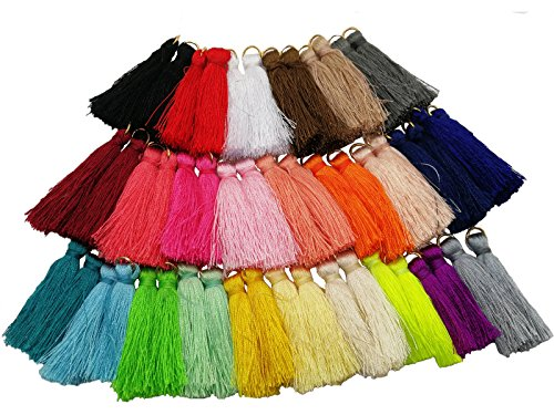 (PAMIR Tong 50pcs 4.5cm Silky Road Tassels with Gold Jump Rings DIY Jewelry Accessory (50))
