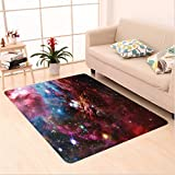 Nalahome Custom carpet Space Nebula with Star Cluster in the Cosmos Universe Galaxy Solar Celestial Zone Teal Red Pink area rugs for Living Dining Room Bedroom Hallway Office Carpet (5' X 7')