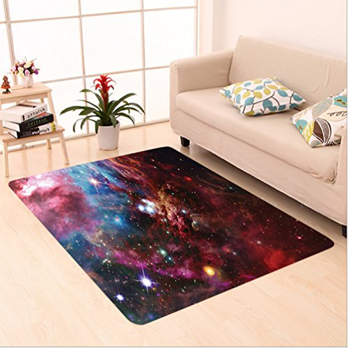 Nalahome Custom carpet Space Nebula with Star Cluster in the Cosmos Universe Galaxy Solar Celestial Zone Teal Red Pink area rugs for Living Dining Room Bedroom Hallway Office Carpet (5' X 7') by Nalahome