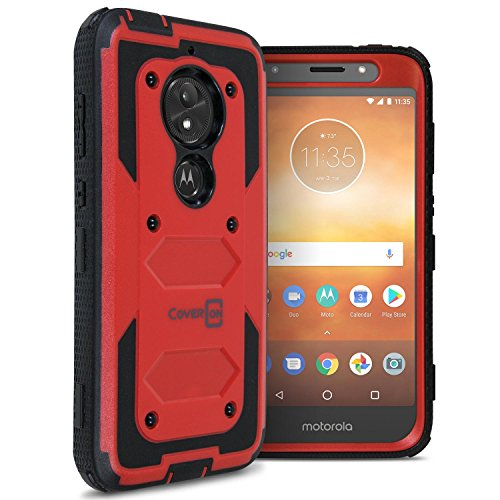 Moto E5 Play Case, CoverON [Tank Series] Protective Full Body Phone Cover with Tough Faceplate for Motorola Moto E5 Play - Red