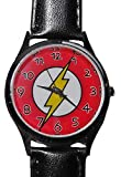 DC Comics THE FLASH LOGO Genuine Leather Band WRIST WATCH