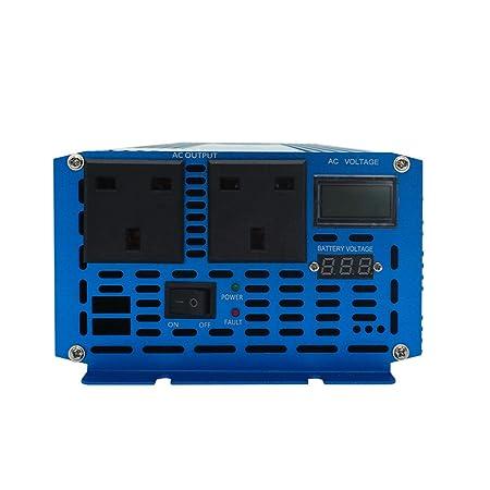 Yinleader Inversor De Corriente Onda Sinusoidal Pura 2000W 4000W Transformador De 12v A 230v, Inversor con 2 zócalo del Reino Unido Y LCD para Coche ...