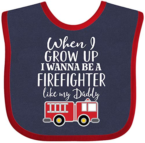 Inktastic - Future Firefighter Like Daddy Baby Bib Navy and Red - Firefighter Bib Baby Future