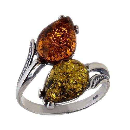 HolidayGiftShops Sterling Silver and Baltic Multicolored Amber Ring Tulips size: (Tulip Bezel Setting)