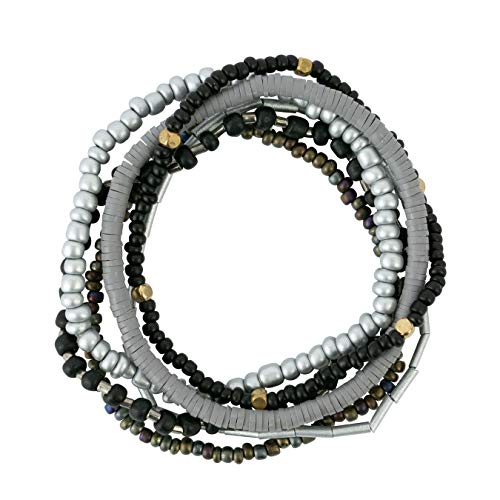 (Bops Colorful, Multi-Layer Stretch Bracelet Set (6pc) for Women and Girls (Black))