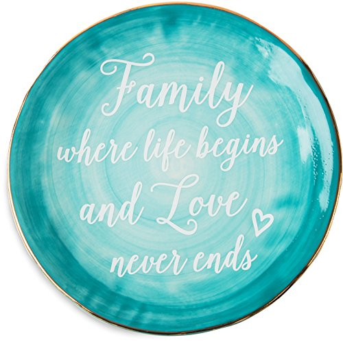 "Pavilion Gift Company Emmaline ""Family Where Life Begins and Love Never Ends"" Ceramic Decorative Plate, 7"", Teal"
