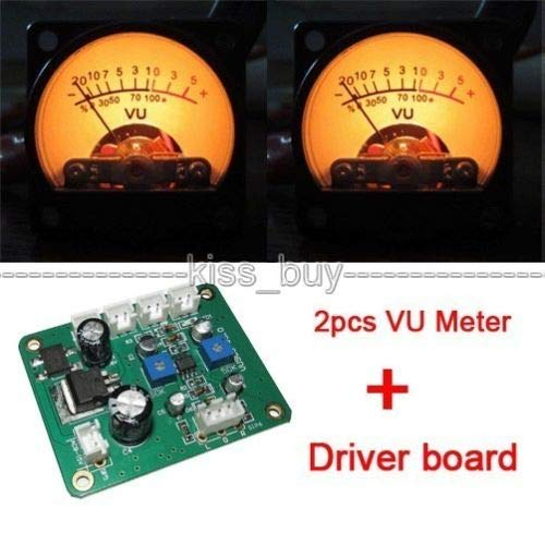 Cailiaoxindong 2pcs Panel VU Meter Header Warm Back Light Recording & DB Audio Level Power Amplifier Indicator Preamp Panel + Driver ()