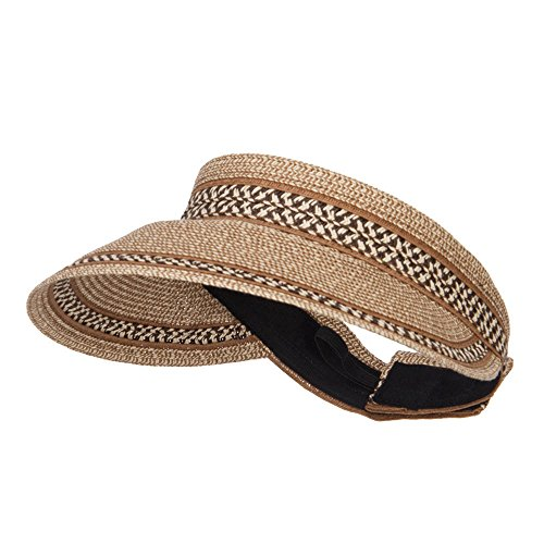 (UPF 50+ Herringbone Braid Rollable Visor - Brown Tweed OSFM)