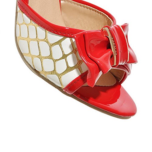 Amoonyfashion Donna Tacco Alto In Materiale Morbido Colore Assortito Pull-on Open Toe Sandali Con Tacco Rosso