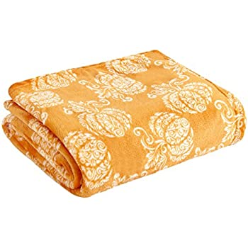 Morgan Home Fashions Plush Paisley Pumpkin Pattern Throw Blanket