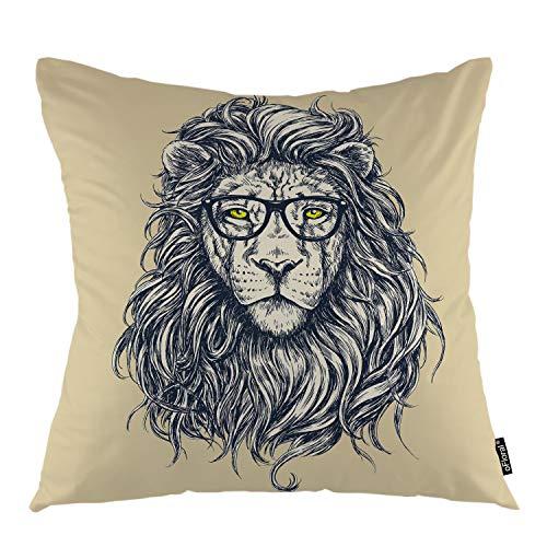 oFloral Lion Throw Pillow Cover Glasses Lion Male Cat Animal Decorative Square Pillow Case 18