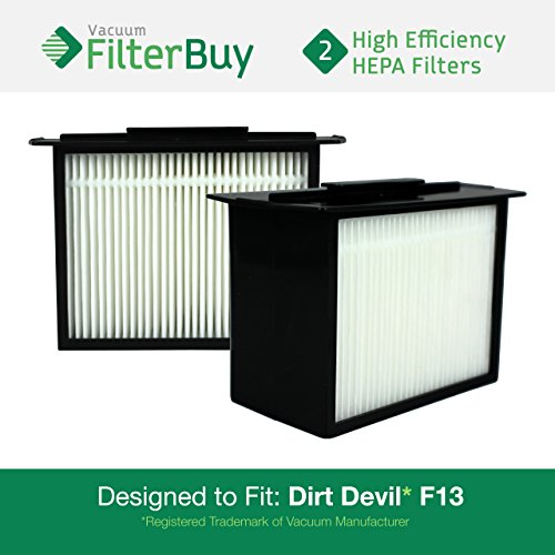 FilterBuy 2 - Dirt Devil F-13 (F13) HEPA Replacement Filters, Part # 3LK0540001. Designed to fit Dirt Devil Reaction Dual Cyclonic, Reaction All-Surface, Reaction Fresh and Action Vacuum Cleaners