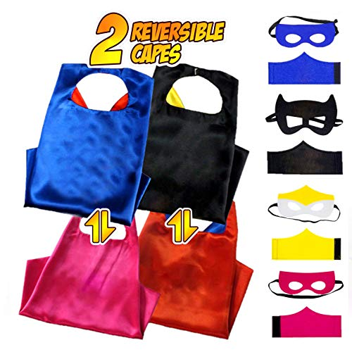 Superhero Capes for kids 2 Reversible Characters Costume Set Pretend Play for Boys and Girls Includes Capes,Masks,Wristbands and Carry Bag for Make Believe Dress-Up Builds Self-Confidence and Teamwork (Confidence Wristbands)