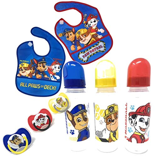 Paw Patrol Boys Baby Feeding Bundle: 3 Baby Bottles, 2 Bibs & 3 Pacifiers Featuring Chase, Marshall & Rubble (8 Items)