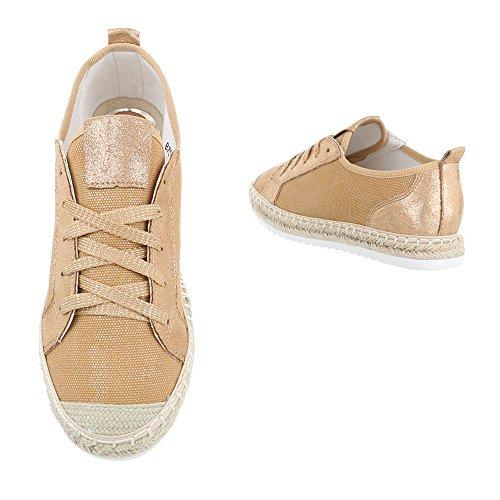 Sneakers Basse Scarpe Da Donna Basse Sneakers Basse Ital Scarpe Casual Design Cammello, Gr 40, B754s-bl