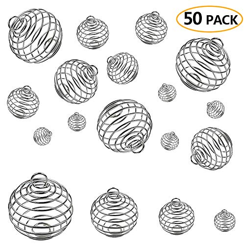 Habbi 50pcs 4 Size Spiral Bead Cage Pendant Crystal Holder for Necklace Making(8X9mm/15X14mm/25X20mm/30X25mm)