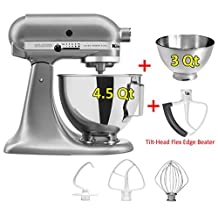 KitchenAid Ultra Power Plus Stand Mixer with Second Bowl and flex edge beater (Silver)