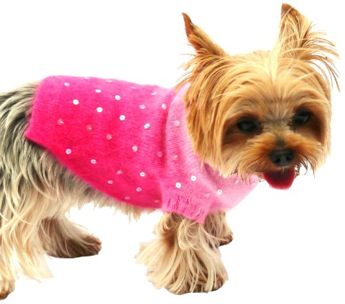 Luxury Sparkle Turtleneck, Angora Blend, Pink Sunset Dip Dye, S by The Dog Squad