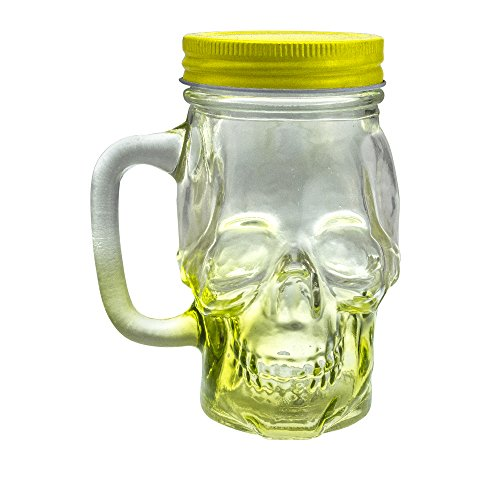 Mason Jar Skull Glass Drinking Mug 12 Ounce with Lid and Handle - Translucent Glass Mug and Stash Jar (Yellow, 1) Translucent Jar