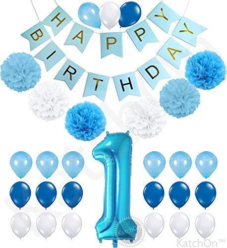 1st Birthday Boy Decorations Kit - Beautiful Boy Colors for Little Man First Birthday Decorations - Number One Balloon - Blue Happy Birthday Banner - Blue, Light Blue and White Pink Pom Poms Balloons -
