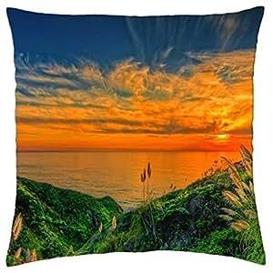 Orange sea sunset - Throw Pillow Cover Case (18